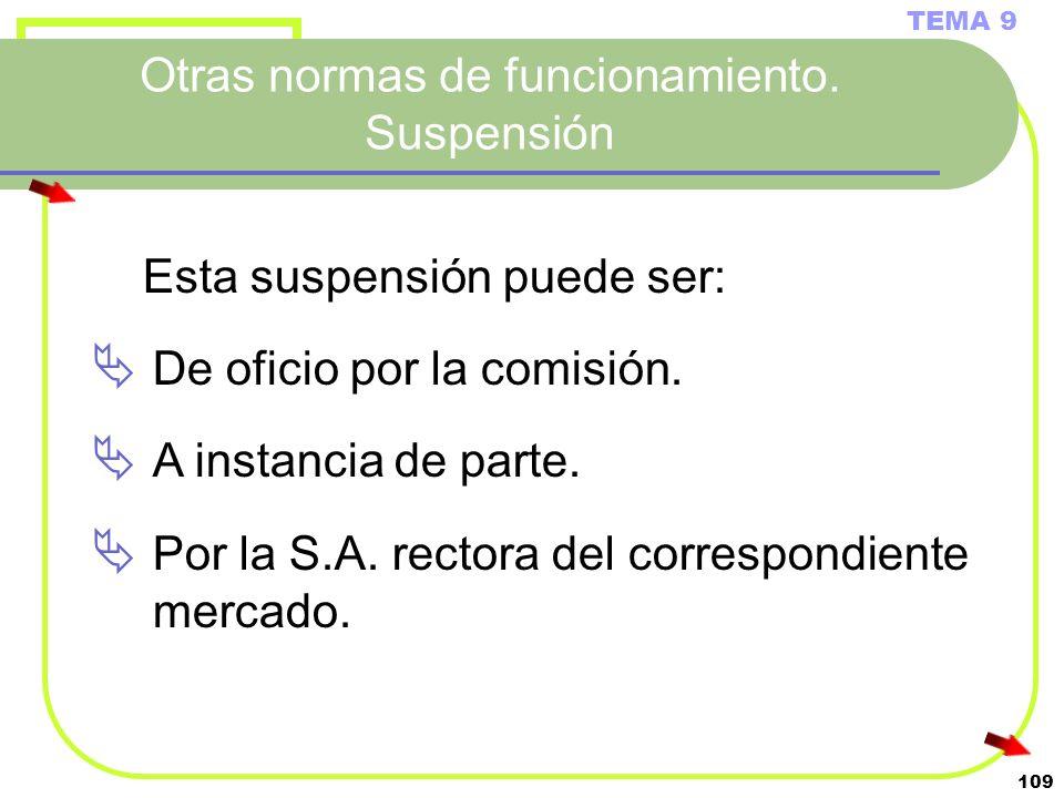 109 Otras normas de funcionamiento. Suspensión TEMA 9 Esta suspensión puede ser: De oficio por la comisión. A instancia de parte. Por la S.A. rectora