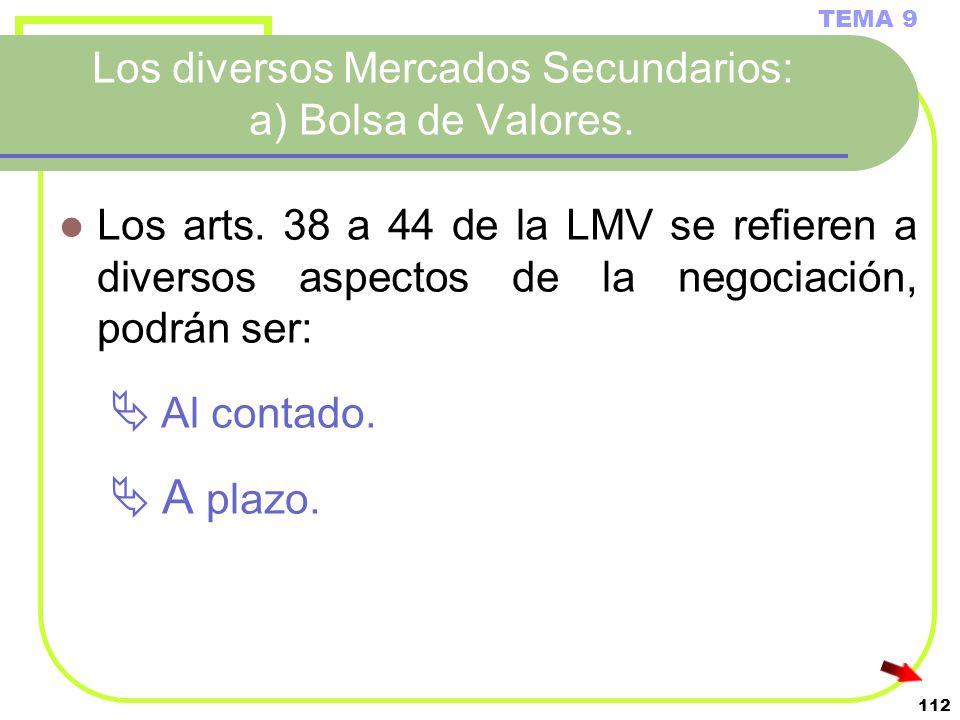 112 Los diversos Mercados Secundarios: a) Bolsa de Valores. TEMA 9 Los arts. 38 a 44 de la LMV se refieren a diversos aspectos de la negociación, podr