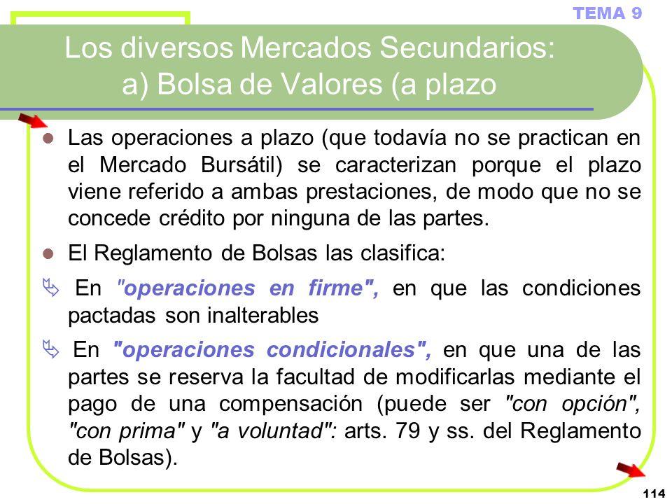 114 Los diversos Mercados Secundarios: a) Bolsa de Valores (a plazo TEMA 9 Las operaciones a plazo (que todavía no se practican en el Mercado Bursátil