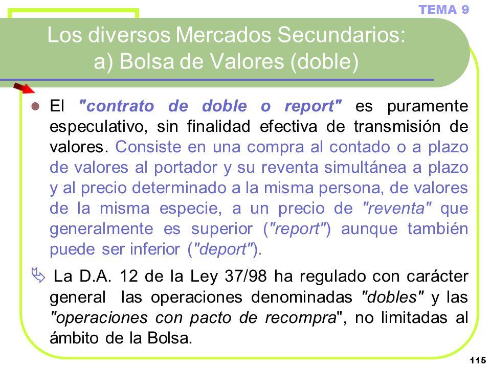 115 Los diversos Mercados Secundarios: a) Bolsa de Valores (doble) TEMA 9 El