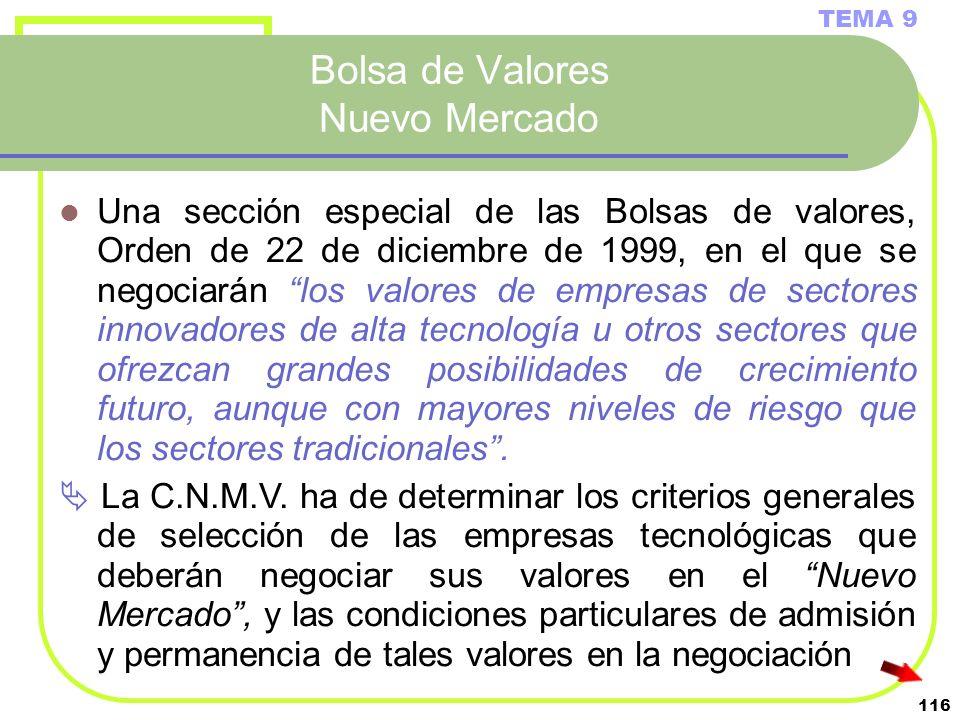 116 Bolsa de Valores Nuevo Mercado TEMA 9 Una sección especial de las Bolsas de valores, Orden de 22 de diciembre de 1999, en el que se negociarán los