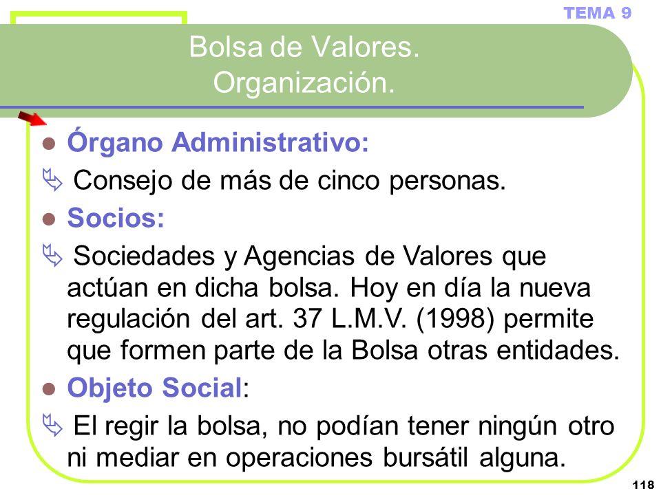 118 Bolsa de Valores. Organización. TEMA 9 Órgano Administrativo: Consejo de más de cinco personas. Socios: Sociedades y Agencias de Valores que actúa