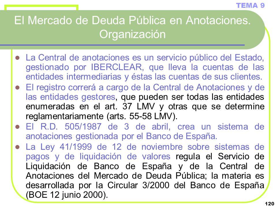 120 El Mercado de Deuda Pública en Anotaciones. Organización TEMA 9 La Central de anotaciones es un servicio público del Estado, gestionado por IBERCL