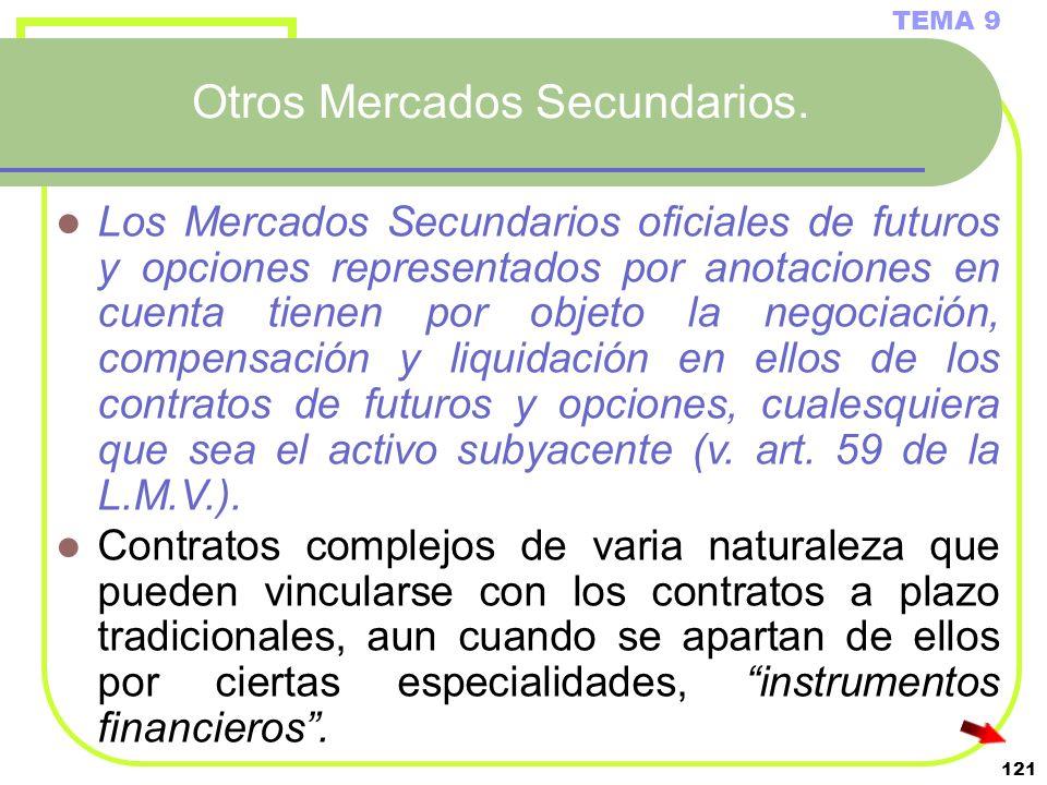 121 Otros Mercados Secundarios. TEMA 9 Los Mercados Secundarios oficiales de futuros y opciones representados por anotaciones en cuenta tienen por obj