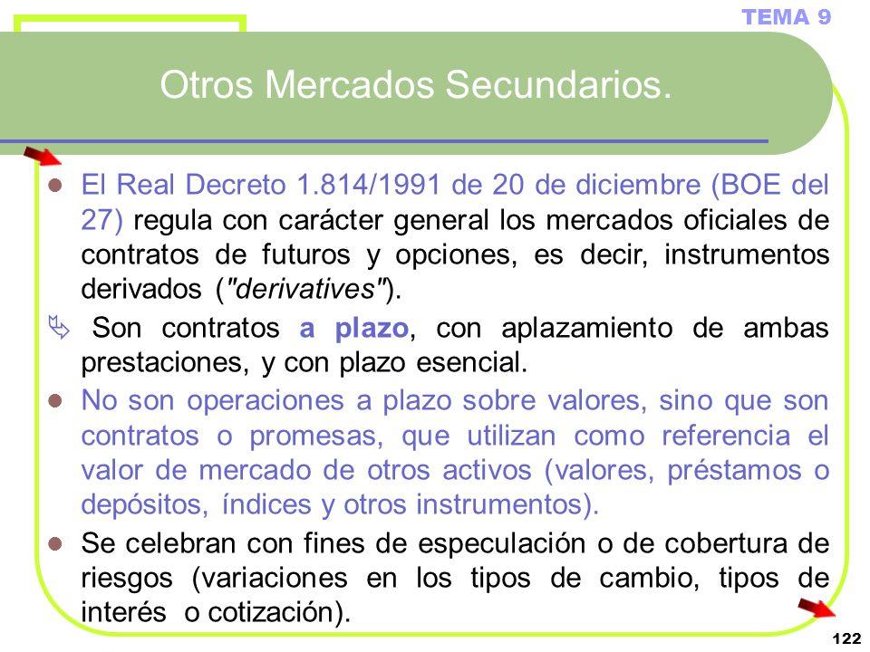 122 Otros Mercados Secundarios. TEMA 9 El Real Decreto 1.814/1991 de 20 de diciembre (BOE del 27) regula con carácter general los mercados oficiales d
