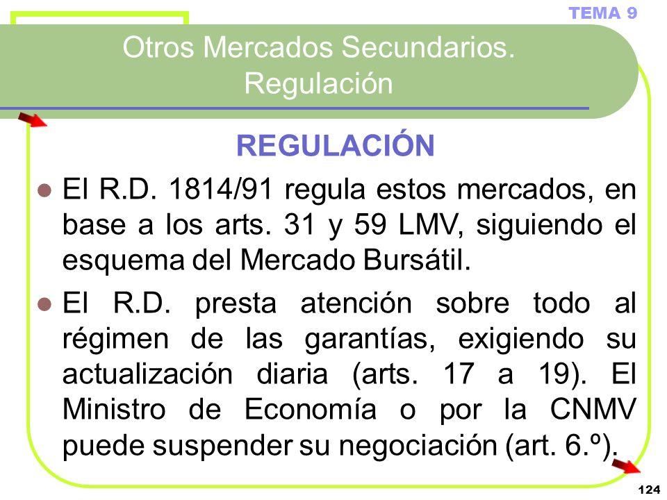 124 Otros Mercados Secundarios. Regulación TEMA 9 REGULACIÓN El R.D. 1814/91 regula estos mercados, en base a los arts. 31 y 59 LMV, siguiendo el esqu