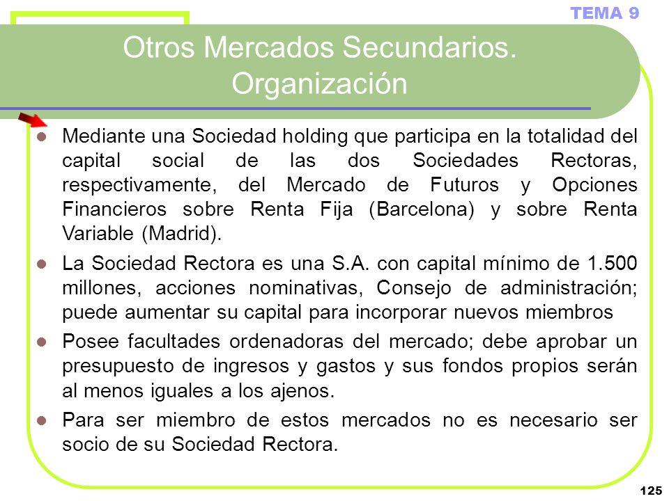 125 Otros Mercados Secundarios. Organización TEMA 9 Mediante una Sociedad holding que participa en la totalidad del capital social de las dos Sociedad