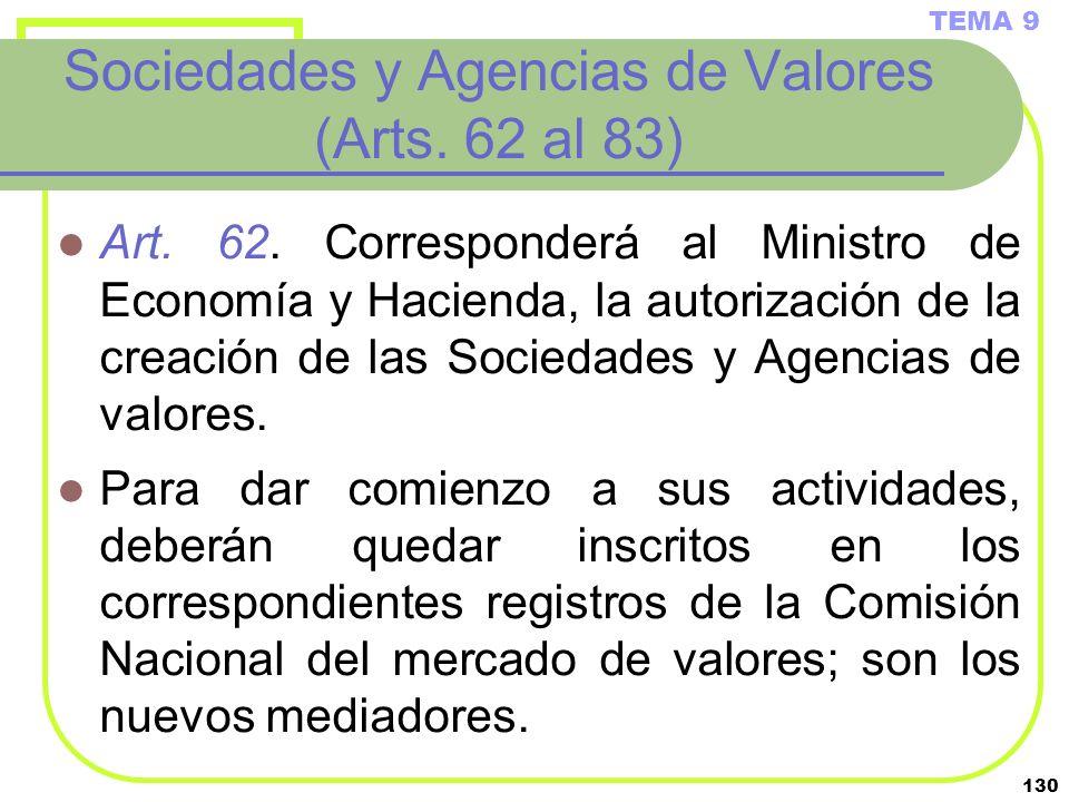 130 Sociedades y Agencias de Valores (Arts. 62 al 83) Art. 62. Corresponderá al Ministro de Economía y Hacienda, la autorización de la creación de las