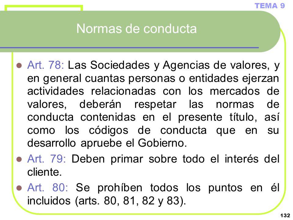 132 Normas de conducta Art. 78: Las Sociedades y Agencias de valores, y en general cuantas personas o entidades ejerzan actividades relacionadas con l