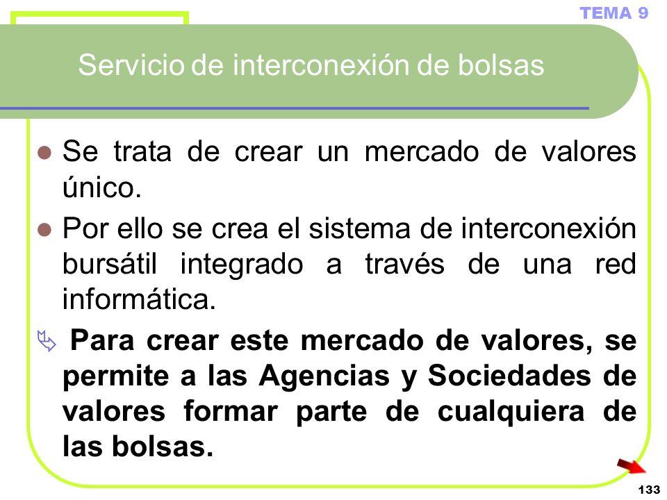 133 Servicio de interconexión de bolsas Se trata de crear un mercado de valores único. Por ello se crea el sistema de interconexión bursátil integrado