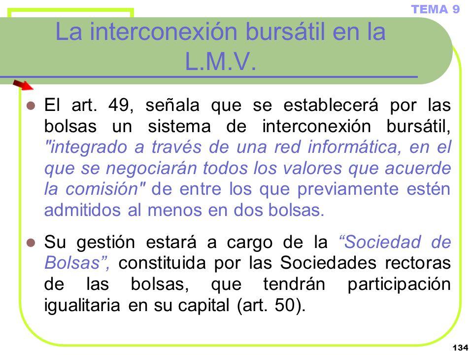 134 La interconexión bursátil en la L.M.V. El art. 49, señala que se establecerá por las bolsas un sistema de interconexión bursátil,