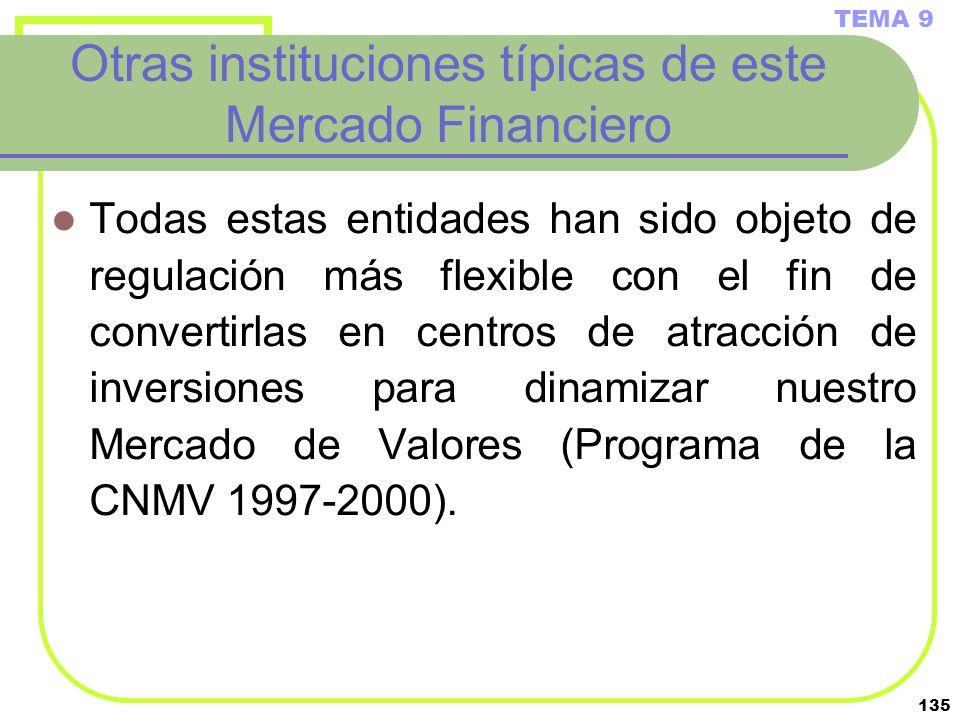 135 Otras instituciones típicas de este Mercado Financiero Todas estas entidades han sido objeto de regulación más flexible con el fin de convertirlas
