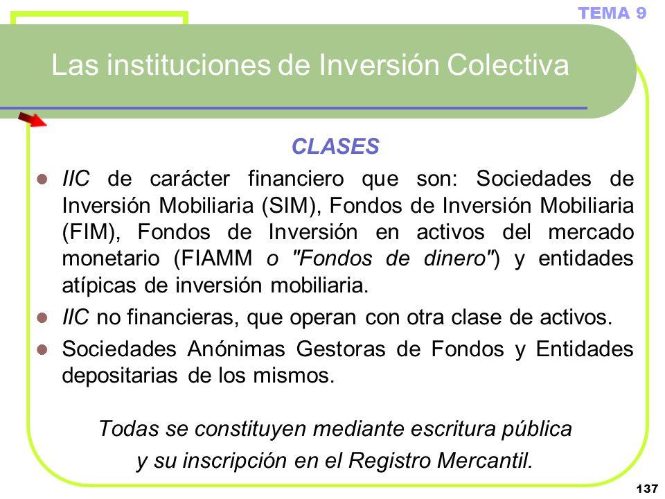 137 Las instituciones de Inversión Colectiva CLASES IIC de carácter financiero que son: Sociedades de Inversión Mobiliaria (SIM), Fondos de Inversión