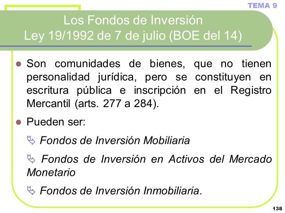 138 Los Fondos de Inversión Ley 19/1992 de 7 de julio (BOE del 14) Son comunidades de bienes, que no tienen personalidad jurídica, pero se constituyen