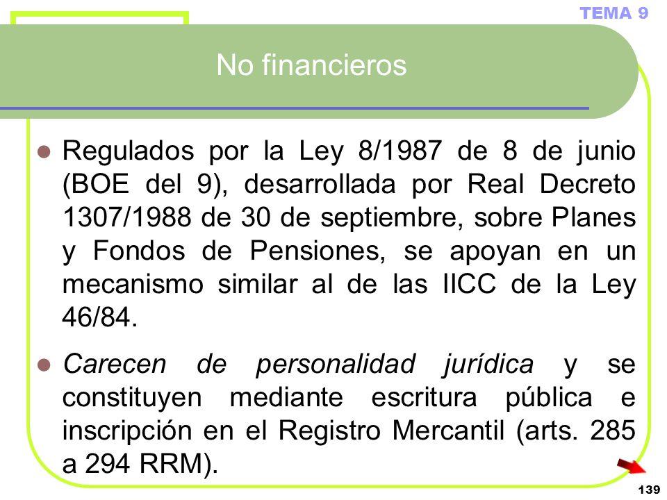 139 No financieros Regulados por la Ley 8/1987 de 8 de junio (BOE del 9), desarrollada por Real Decreto 1307/1988 de 30 de septiembre, sobre Planes y
