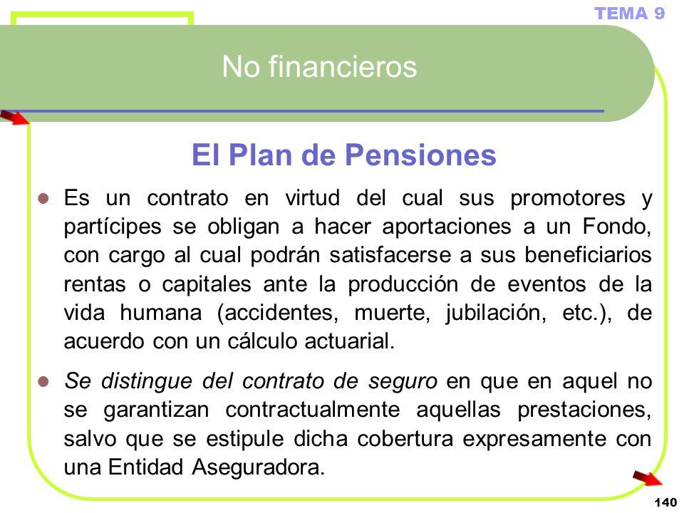 140 No financieros El Plan de Pensiones Es un contrato en virtud del cual sus promotores y partícipes se obligan a hacer aportaciones a un Fondo, con