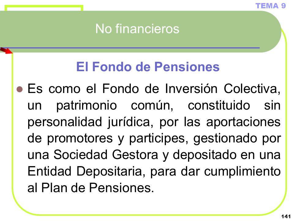 141 No financieros El Fondo de Pensiones Es como el Fondo de Inversión Colectiva, un patrimonio común, constituido sin personalidad jurídica, por las