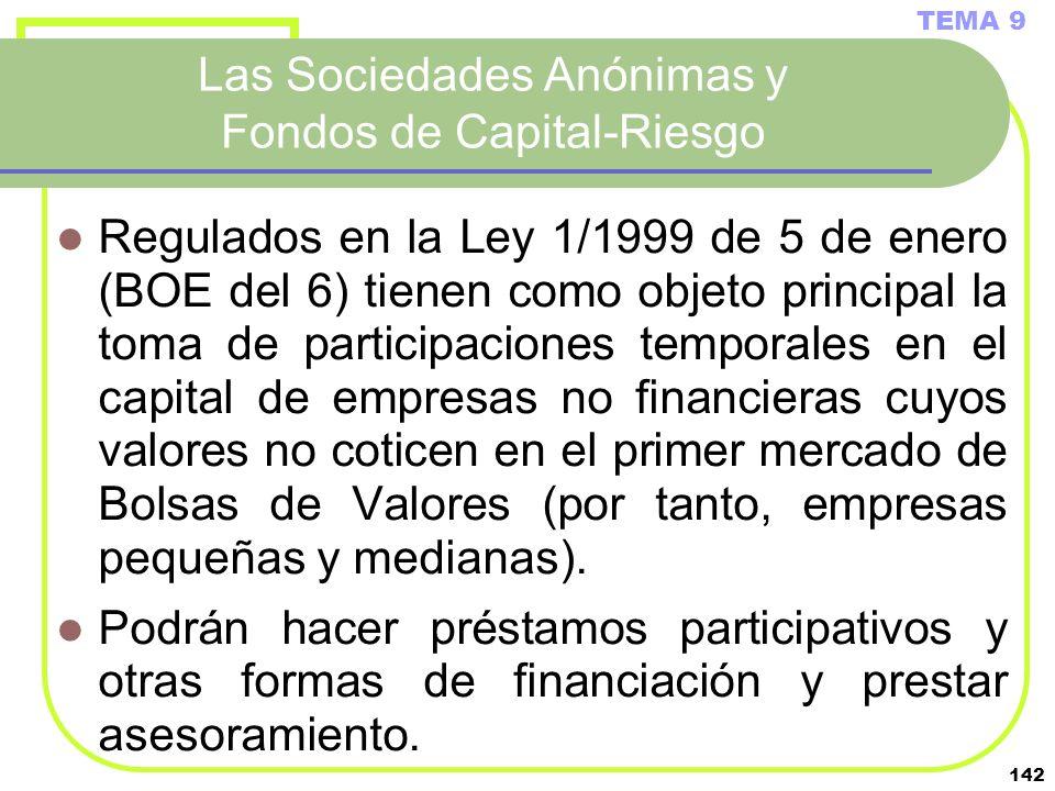 142 Las Sociedades Anónimas y Fondos de Capital-Riesgo Regulados en la Ley 1/1999 de 5 de enero (BOE del 6) tienen como objeto principal la toma de pa