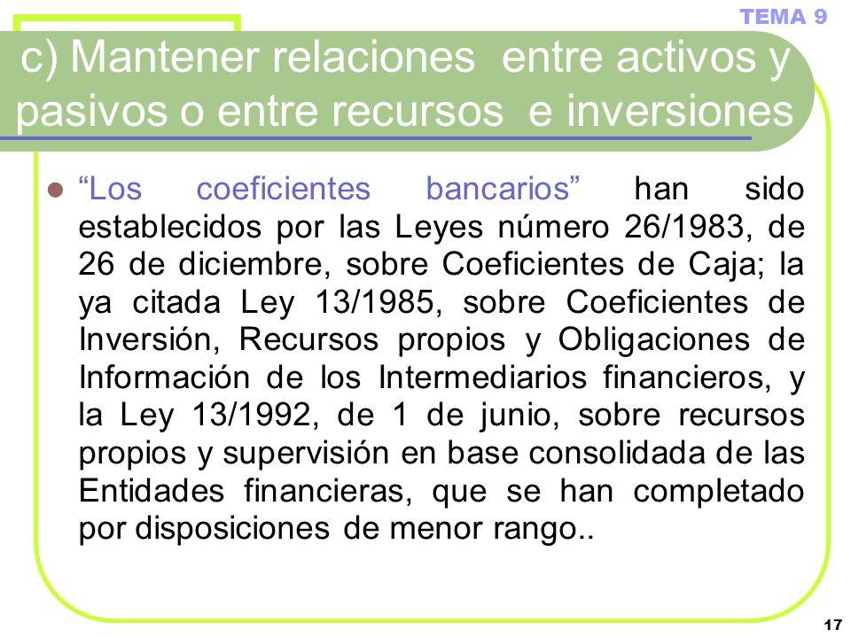 17 c) Mantener relaciones entre activos y pasivos o entre recursos e inversiones Los coeficientes bancarios han sido establecidos por las Leyes número