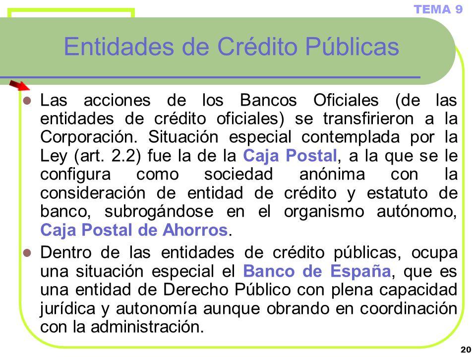 20 Entidades de Crédito Públicas Las acciones de los Bancos Oficiales (de las entidades de crédito oficiales) se transfirieron a la Corporación. Situa