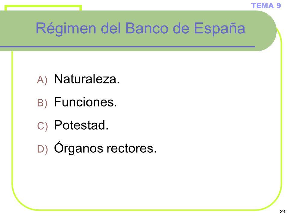 21 Régimen del Banco de España A) Naturaleza. B) Funciones. C) Potestad. D) Órganos rectores. TEMA 9