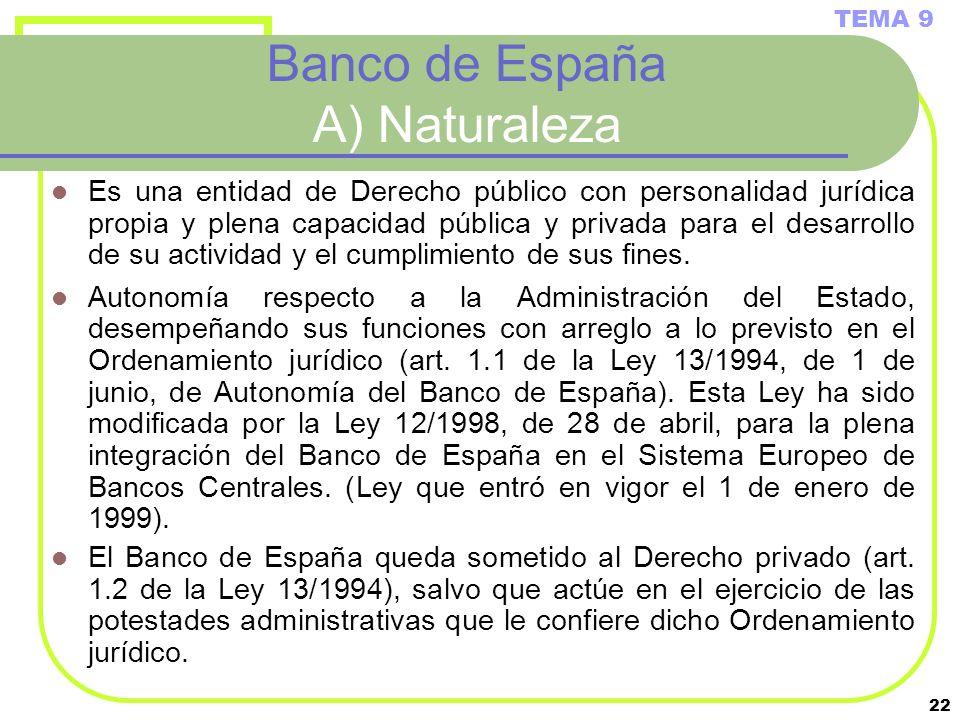 22 Banco de España A) Naturaleza Es una entidad de Derecho público con personalidad jurídica propia y plena capacidad pública y privada para el desarr