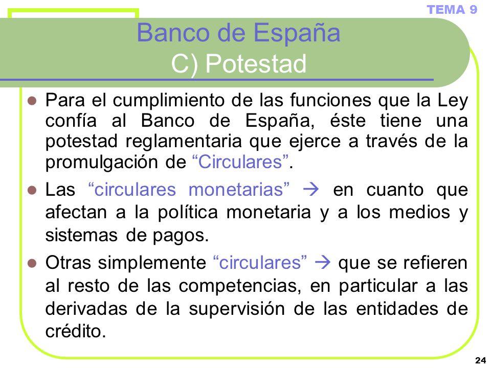 24 Banco de España C) Potestad Para el cumplimiento de las funciones que la Ley confía al Banco de España, éste tiene una potestad reglamentaria que e