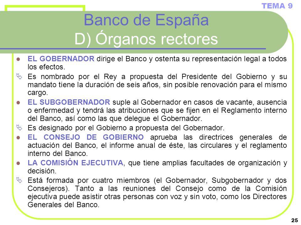 25 Banco de España D) Órganos rectores EL GOBERNADOR dirige el Banco y ostenta su representación legal a todos los efectos. Es nombrado por el Rey a p