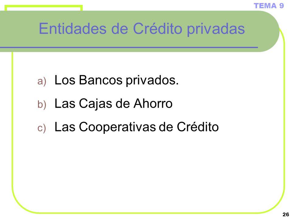 26 Entidades de Crédito privadas a) Los Bancos privados. b) Las Cajas de Ahorro c) Las Cooperativas de Crédito TEMA 9