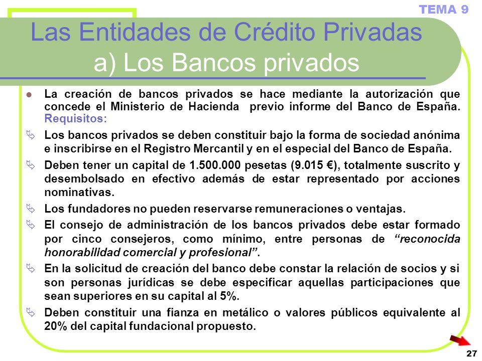 27 Las Entidades de Crédito Privadas a) Los Bancos privados La creación de bancos privados se hace mediante la autorización que concede el Ministerio
