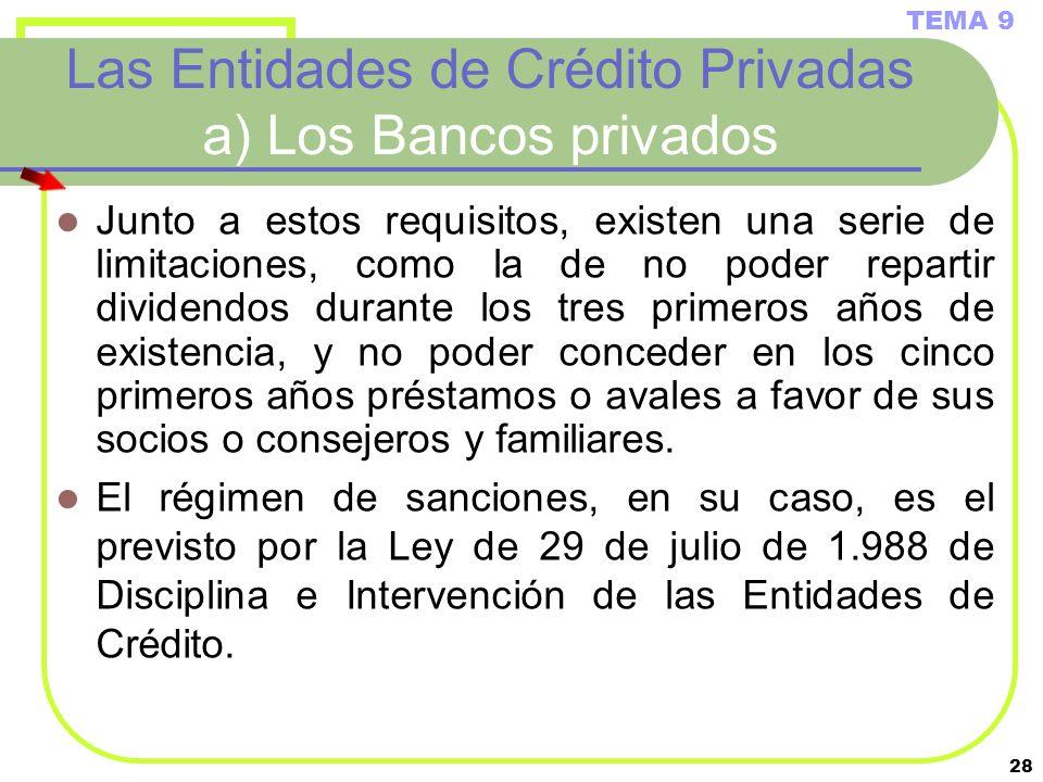 28 Las Entidades de Crédito Privadas a) Los Bancos privados Junto a estos requisitos, existen una serie de limitaciones, como la de no poder repartir
