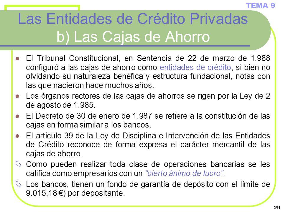 29 Las Entidades de Crédito Privadas b) Las Cajas de Ahorro El Tribunal Constitucional, en Sentencia de 22 de marzo de 1.988 configuró a las cajas de