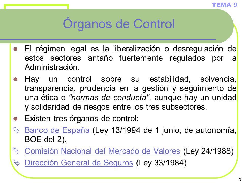 3 Órganos de Control El régimen legal es la liberalización o desregulación de estos sectores antaño fuertemente regulados por la Administración. Hay u