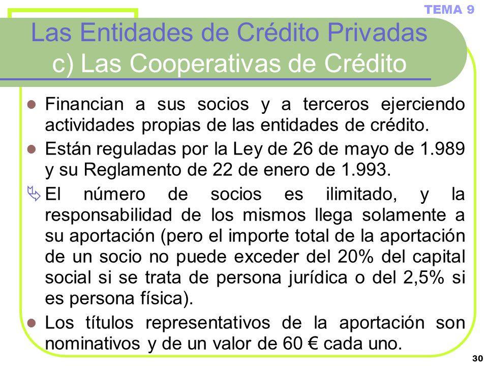 30 Las Entidades de Crédito Privadas c) Las Cooperativas de Crédito Financian a sus socios y a terceros ejerciendo actividades propias de las entidade