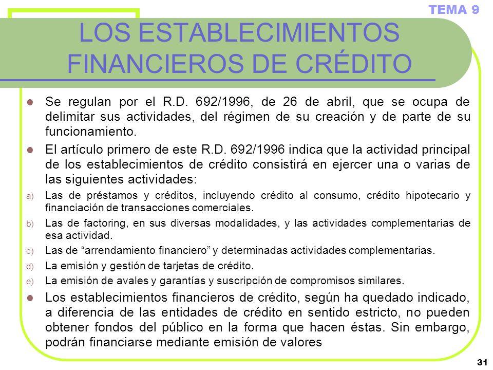 31 LOS ESTABLECIMIENTOS FINANCIEROS DE CRÉDITO Se regulan por el R.D. 692/1996, de 26 de abril, que se ocupa de delimitar sus actividades, del régimen
