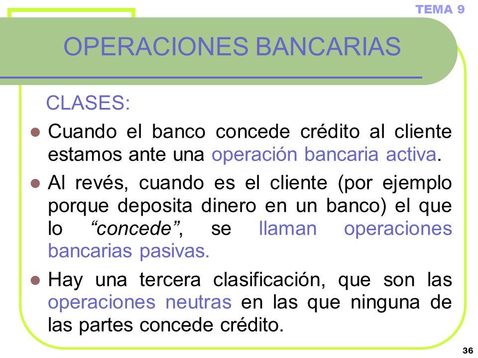 36 OPERACIONES BANCARIAS CLASES: Cuando el banco concede crédito al cliente estamos ante una operación bancaria activa. Al revés, cuando es el cliente