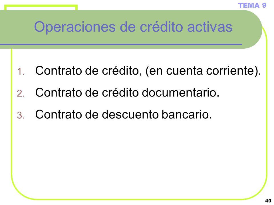 40 Operaciones de crédito activas 1. Contrato de crédito, (en cuenta corriente). 2. Contrato de crédito documentario. 3. Contrato de descuento bancari