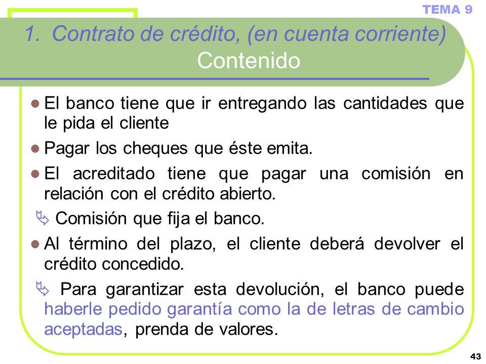 43 1.Contrato de crédito, (en cuenta corriente) Contenido El banco tiene que ir entregando las cantidades que le pida el cliente Pagar los cheques que
