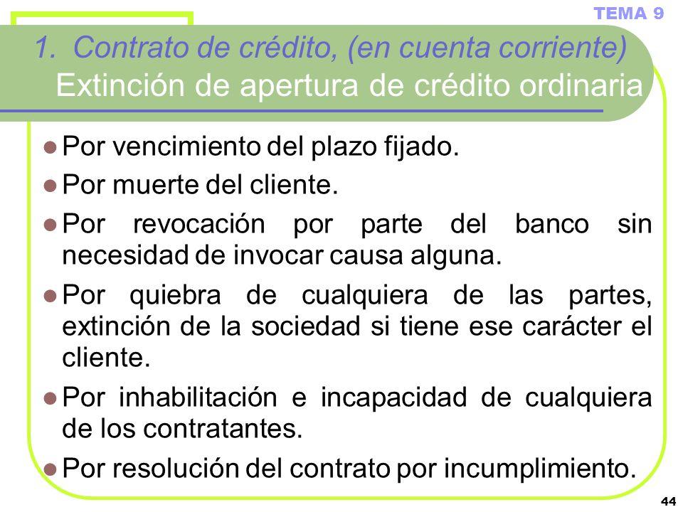 44 1.Contrato de crédito, (en cuenta corriente) Extinción de apertura de crédito ordinaria Por vencimiento del plazo fijado. Por muerte del cliente. P