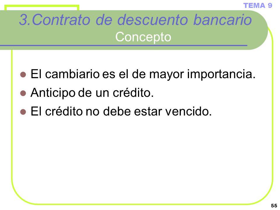 55 3.Contrato de descuento bancario Concepto El cambiario es el de mayor importancia. Anticipo de un crédito. El crédito no debe estar vencido. TEMA 9
