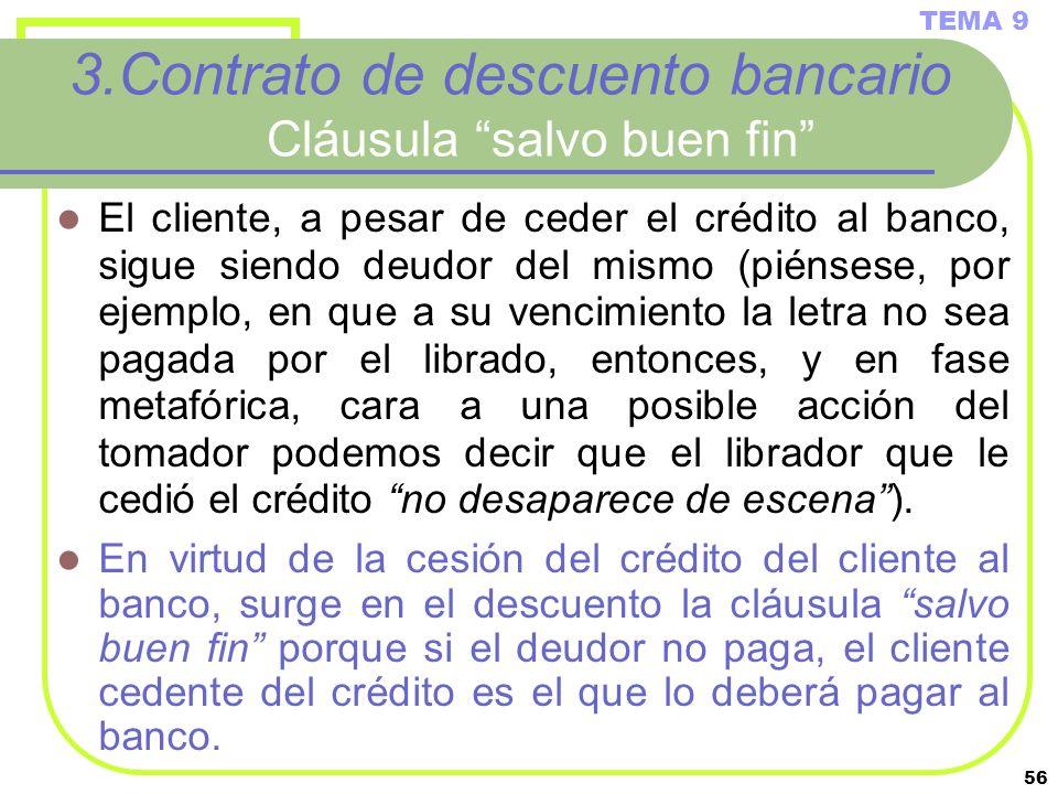 56 3.Contrato de descuento bancario Cláusula salvo buen fin El cliente, a pesar de ceder el crédito al banco, sigue siendo deudor del mismo (piénsese,