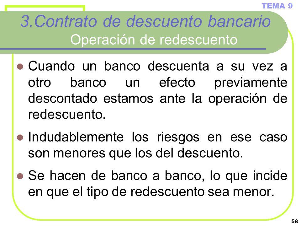 58 3.Contrato de descuento bancario Operación de redescuento Cuando un banco descuenta a su vez a otro banco un efecto previamente descontado estamos