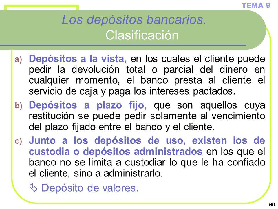 60 Los depósitos bancarios. Clasificación a) Depósitos a la vista, en los cuales el cliente puede pedir la devolución total o parcial del dinero en cu