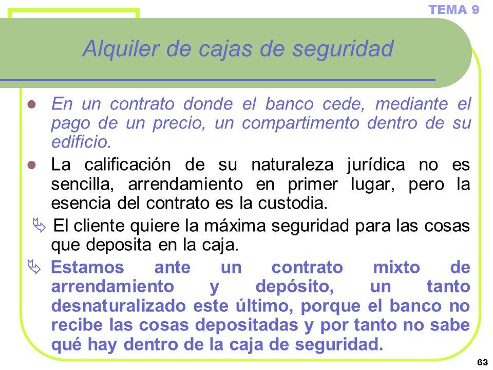 63 Alquiler de cajas de seguridad En un contrato donde el banco cede, mediante el pago de un precio, un compartimento dentro de su edificio. La califi