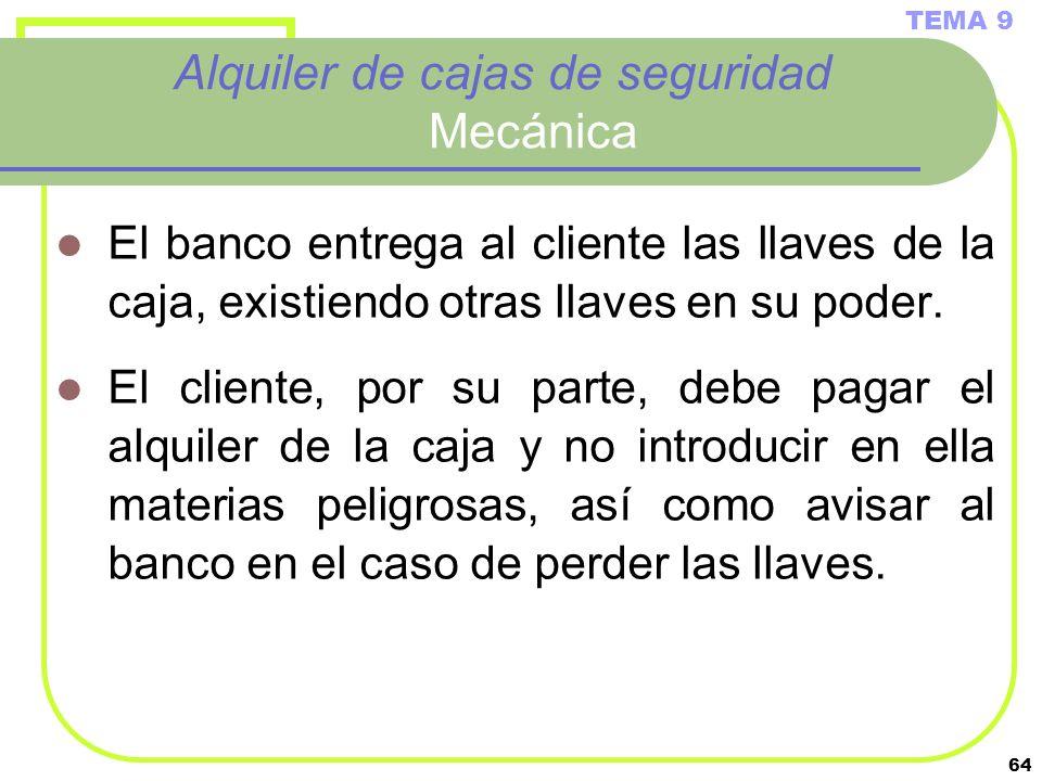 64 Alquiler de cajas de seguridad Mecánica El banco entrega al cliente las llaves de la caja, existiendo otras llaves en su poder. El cliente, por su
