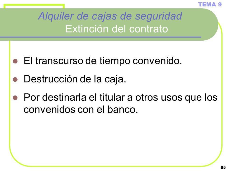 65 Alquiler de cajas de seguridad Extinción del contrato El transcurso de tiempo convenido. Destrucción de la caja. Por destinarla el titular a otros
