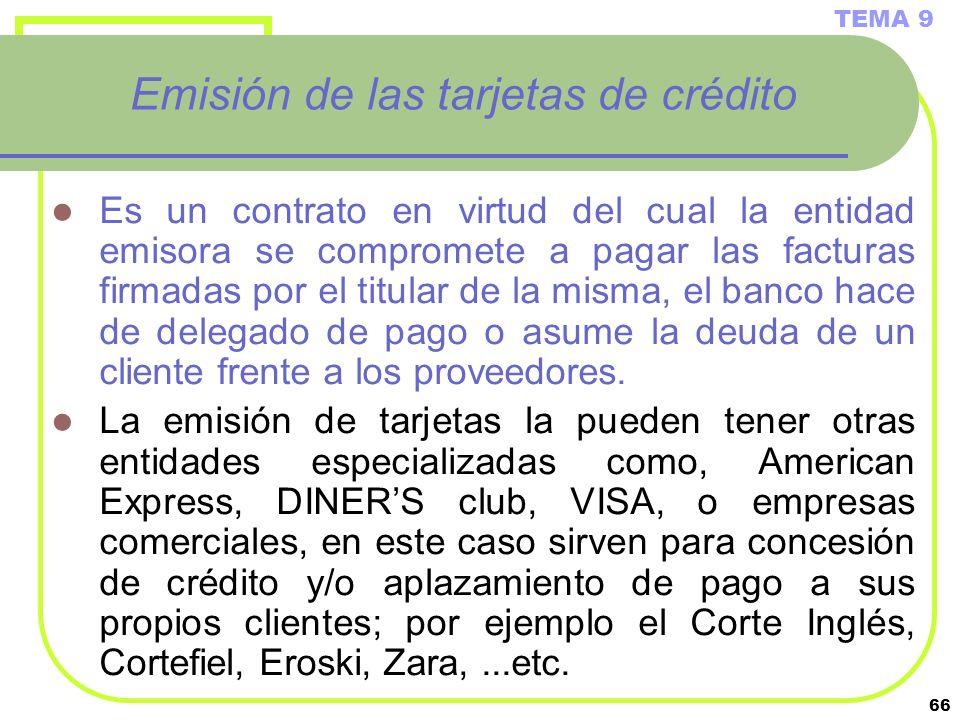66 Emisión de las tarjetas de crédito Es un contrato en virtud del cual la entidad emisora se compromete a pagar las facturas firmadas por el titular