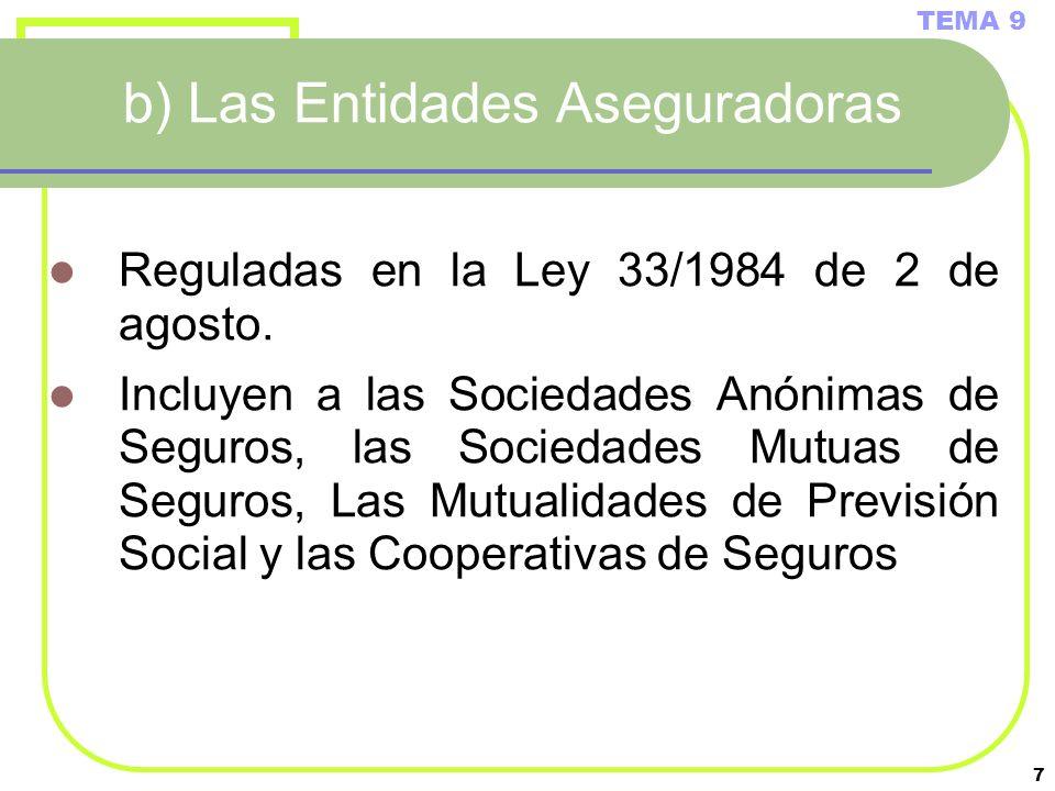 7 b) Las Entidades Aseguradoras Reguladas en la Ley 33/1984 de 2 de agosto. Incluyen a las Sociedades Anónimas de Seguros, las Sociedades Mutuas de Se