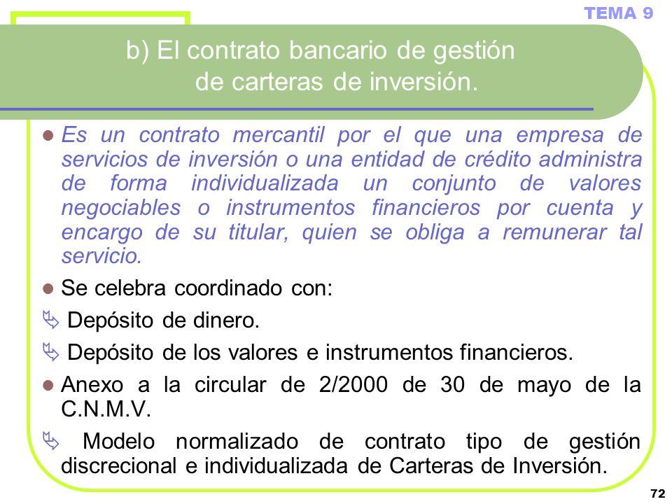 72 b) El contrato bancario de gestión de carteras de inversión. Es un contrato mercantil por el que una empresa de servicios de inversión o una entida