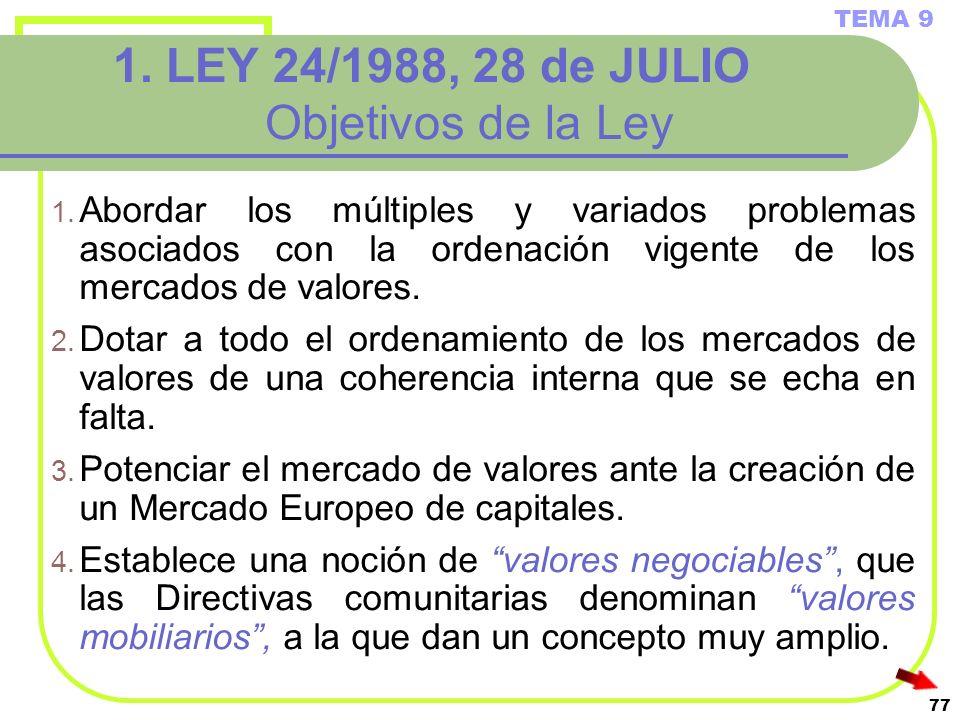 77 1. LEY 24/1988, 28 de JULIO Objetivos de la Ley 1. Abordar los múltiples y variados problemas asociados con la ordenación vigente de los mercados d